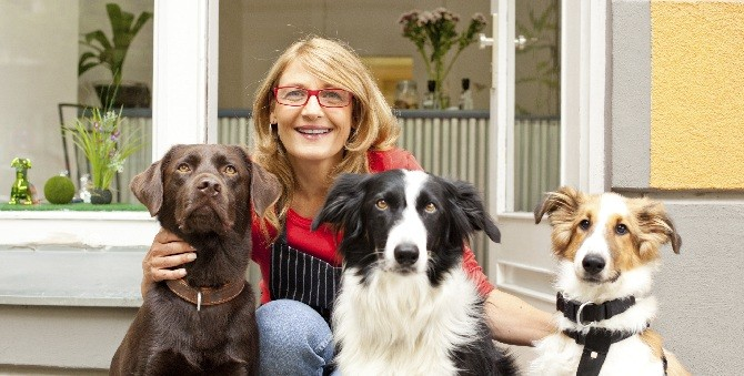 woman with three dogs for Womens page